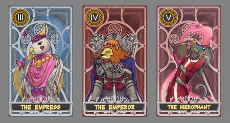 conjunto Ilustración de cartas del tarot. Traje de la emperatriz, traje del emperador y el palo de la hierophant con trazado de recorte.