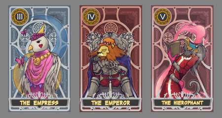 card: Tarot card illustration set.  Suit of the empress, suit of the emperor and suit of the  hierophant with clipping path. Stock Photo