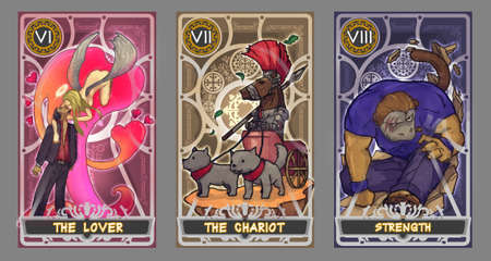 deck: Tarot card illustration set.  Suit of the lover, suit of the chariot and suit of strength with clipping path.