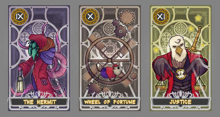 Tarot card illustration set.  Suit of the hermit, suit of wheel of fortune and suit of justice with clipping path.