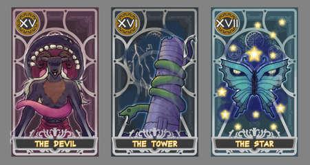 lectura: conjunto Ilustración de cartas del tarot. Traje del diablo, traje de la torre y el palo de la estrella con el camino de recortes.