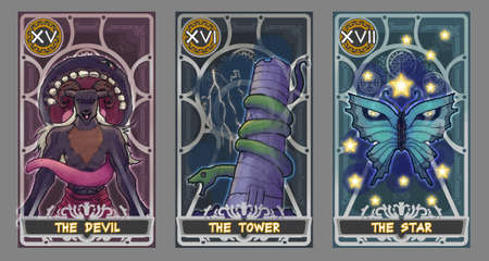 psychic reading: Tarot card illustration set.  Suit of the devil, suit of the tower and suit of the star with clipping path.