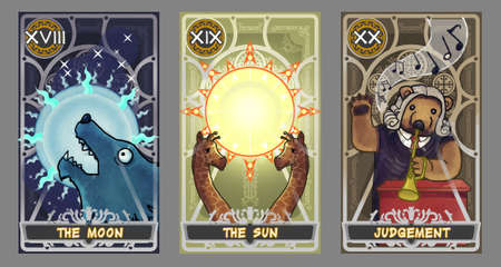 Tarot card illustration set.  Suit of the moon, suit of the sun and suit of judgement 版權商用圖片 - 53388333