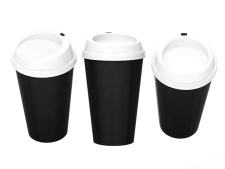 General  cup packaging  for coffee or tea with clipping path, template for your design or artwork 版權商用圖片