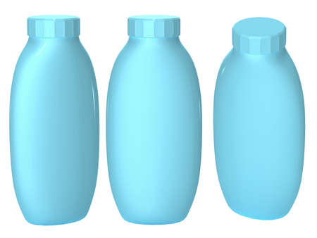 Blue plastic bottle packaging with clipping path for cosmatics and health care product.