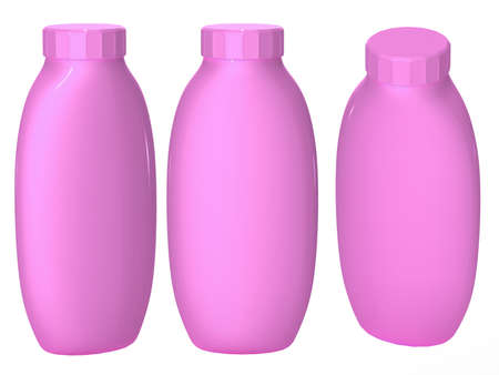 Pink plastic bottle packaging with clipping path for cosmatics and health care product.