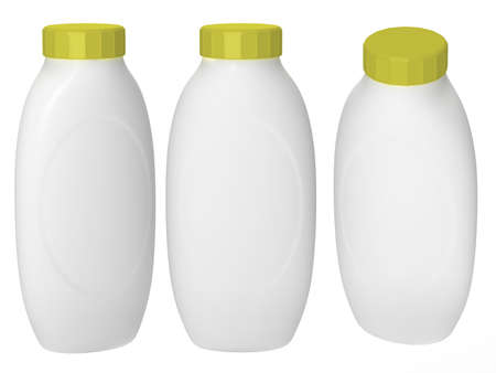 White plastic bottle packaging with clipping path for cosmatics and health care product.