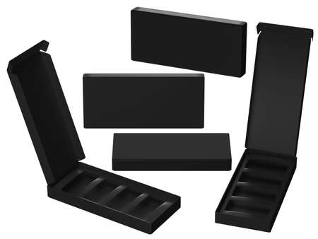 Black paper carton box with divider, clipping path included. Template package for variety product like food, gift, cosmetic or health care . ready for Your Design and artwork .