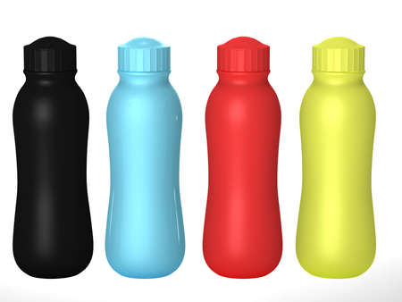 Blank plastic bottle packaging with cap set, clipping path included. Template package for liquid product like detergent or cosmetics cream. ready for Your Design and artwork.