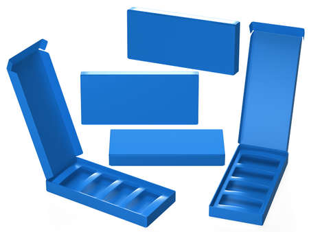 Blue paper carton box with divider, clipping path included. Template package for variety product like food, gift, cosmetic or health care . ready for Your Design and artwork. Banque d'images