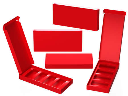 Red paper carton box with divider, clipping path included. Template package for variety product like food, gift, cosmetic or health care . ready for Your Design and artwork.