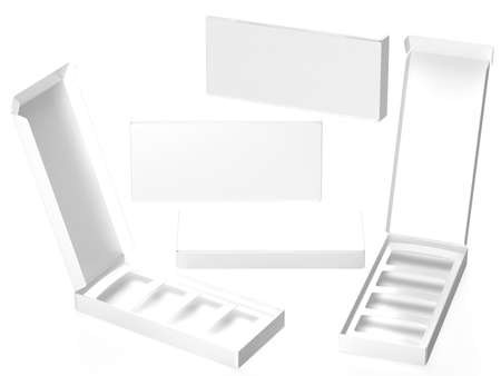 White paper carton box with divider, clipping path included. Template package for variety product like food, gift, cosmetic or health care . ready for Your Design and artwork .
