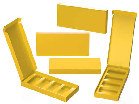Yellow paper carton box with divider, clipping path included. Template package for variety product like food, gift, cosmetic or health care . ready for Your Design and artwork. Banque d'images