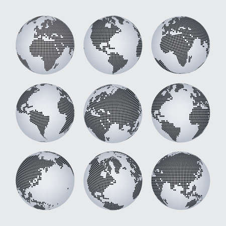 worl: Worl map and continent halftone dot vector set