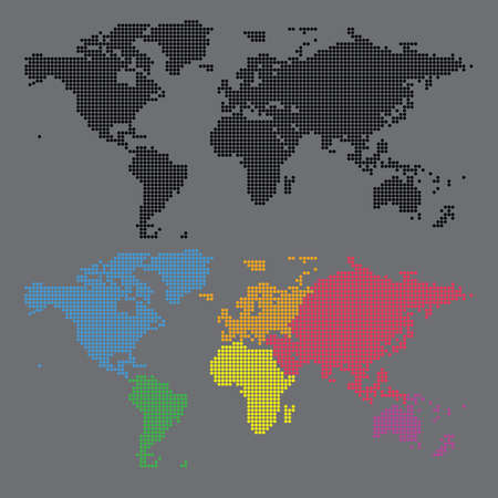 Worl map and continent halftone dot vector set