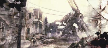 War of robots illustration painting