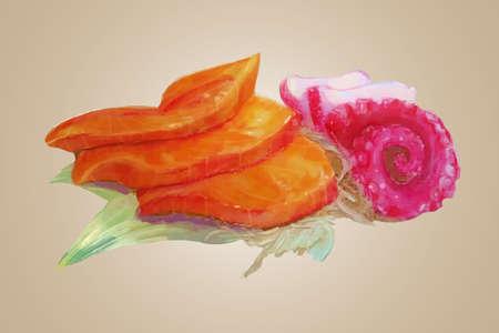 Watercolor raw salmon and tako