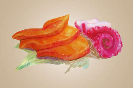 Watercolor raw salmon and tako