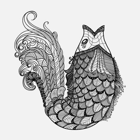 Hand drawn fantasy fish vector in style 版權商用圖片 - 61104862