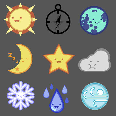 Weather forecast  icon set for web design, mobile, internet ,application, artwork etc.