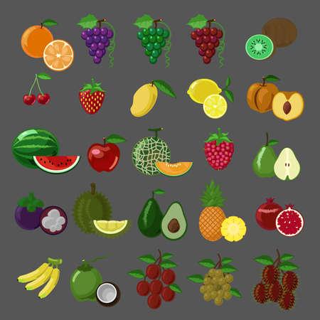 Flat style fruits vector icon set Illustration