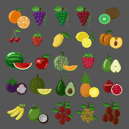 Flat style fruits vector icon set Ilustrace