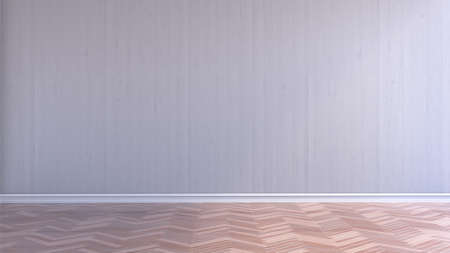 Empty interior room with white wood wall and wood parquet floor, 3d rendering Banque d'images