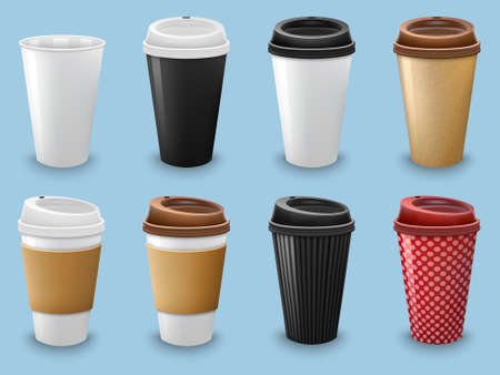 Set of realistic coffee drinking cups with lid and holder template