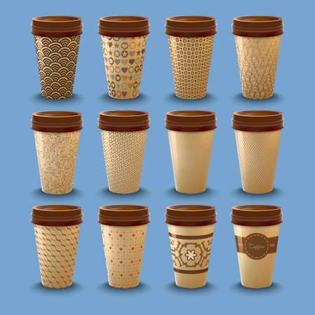 Set of realistic cardboard coffee drinking cups with lids template