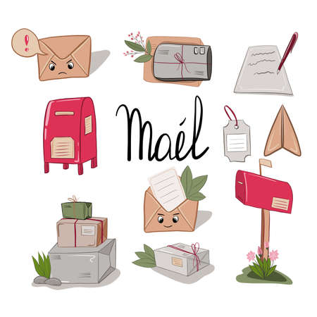 Mail delivery service cartoon set. Letter and mailbox, package and parcel, plane. Illusztráció
