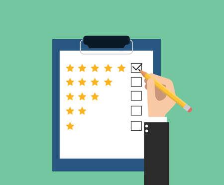 garrapata: dar calificación de atención al cliente Vectores