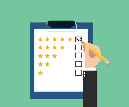 quality check: give rating on customer service Illustration