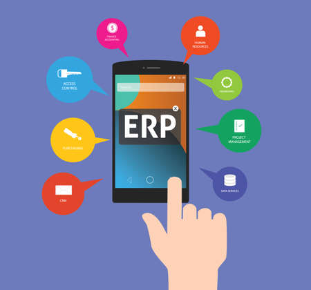 erp: erp enterprise resource planning which is consist of crm access control financial management purchasing data management and human resources