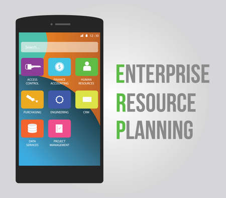 enterprise: erp enterprise resource planning which is consist of crm access control financial management purchasing data management and human resources