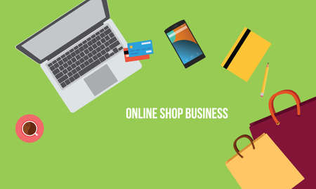 shop online: online shop business Illustration