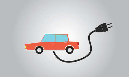 charge: electric car charge using plug electricity Illustration