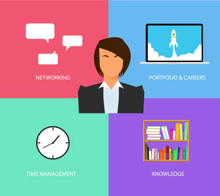 finance department: business woman things and stuff and core stuff Illustration