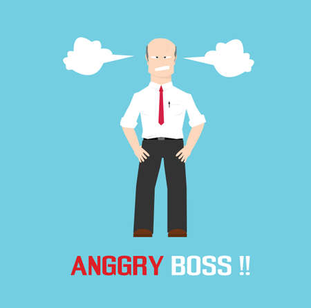 temper: angry boss with temper and bad feelings