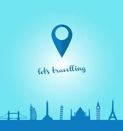 travel backgrounds: lets travelling and explore the world and going to some landmarks Illustration