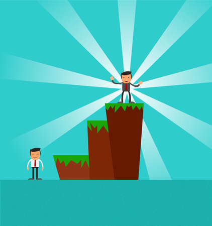 succeed: peak performance for businessman who get victory and succeed