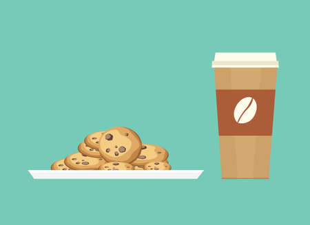 Chocolate chip cookies is the best companion to eat together  イラスト・ベクター素材