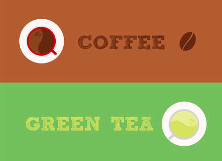 Comparable between coffee and green tea, which one do you choose Illustration