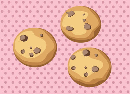 Chocolate chip cookies with pink background Illustration