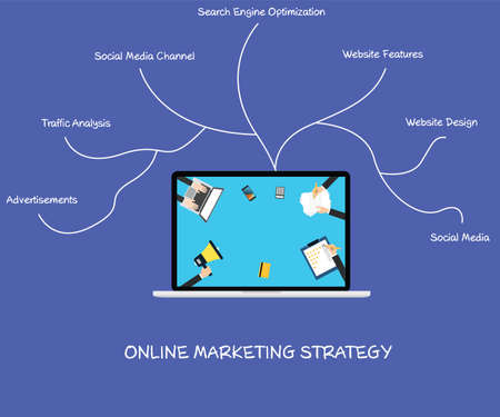 Online marketing strategy brainstorming in a laptop Illustration