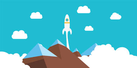 Rocket launch to illustrate success in business or competition Stock Illustratie