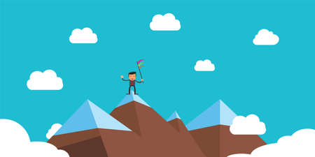 top mountain: Businessman with flag on top of mountain to show his successful life Illustration