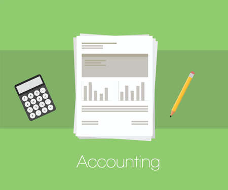 bookkeeper: Accounting document with calculator and pencil and workpaper