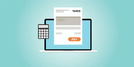 Paying taxes with online process illustration Illustration