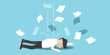 economic depression: Business man bankrupt and falling down because of taxes Illustration