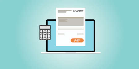 bill payment: Digital invoice laptop or notebook with calculator Illustration